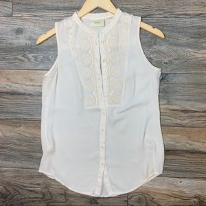 Anthropologie Maeve Sleeveless Button Floral Top